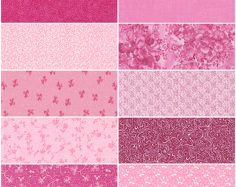 """Cotton Fabric, Multiple Shades of Pink. Lot of 10 Fat Quarters for Quilting, Sewing and Crafts. Each 18"""" x 22"""" in Size"""