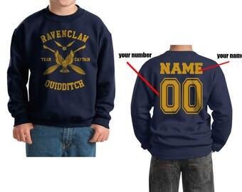 CAPTAIN - Custom Back, Ravenc Quidditch team Captain Yellow printed on Youth / Kids Crewneck Sweatshirt