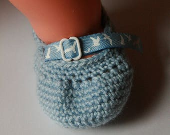 Booties crocheted blue - birth to 3 months