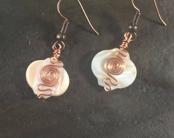 Mother of Pearl Earrings - Copper Earrings - Casual Earrings - Handmade Jewelry - Hypo allergenic - Unique Jewelry - Gift for sister