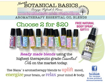 Essential Oil Roller Bottle Blends (ready made)  2 for 20 plus FREE GIFT