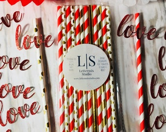 Red & Gold Paper Straws, Love confetti, Valentine's Day Party Straws, Cake Pop