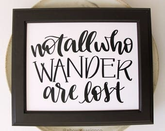 Travel Printable | Not All Who Wander Are Lost | Travel Quote | Travel Print | Travel Decor | Digital Download | Inspirational Quote Print