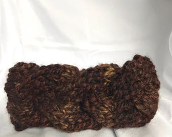 Chunky Knit Braided Headband Ear Warmer - Maroon Bronze