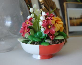 Mums, Succulents, Wildflowers, and Lily of the Valley Floral Arrangement in Hand Painted Red and White Ceramic Bowl