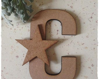 Set of 10 wooden stars raw 5.5 cm diameter approximately 3mm thick
