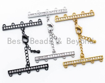 1set Five Loops CZ Micro Pave Multi-Strands Lobster Claw Clasp, Clear CZ on Gunmetal/Gold/Silver Color, 37x6mm, SKU#K28
