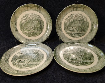 """FOUR SCIO Currier Ives Dinner Plates 9 1/4"""" Old Grist Mill Yoke Plow Green Set of 4 EXCELLENT!"""