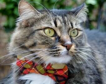 Fall plaid cat bow tie, Plaid cat collar, cat bow tie, kitten collar, kitten bow tie, bow tie for cat, collar for cat, cat bowtie