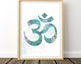 Yoga Bedroom Art, Yoga Poster, Watercolor Print, Printable Art, Art Prints, Om Symbol, Om Sign, Meditation Art, Zen Decor, Large Poster