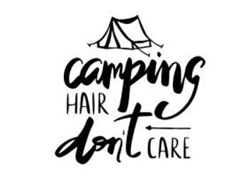 Car Decal - Camping - Camping Decal - Camping Hair Don't Care - Car Decal - Yeti Decal