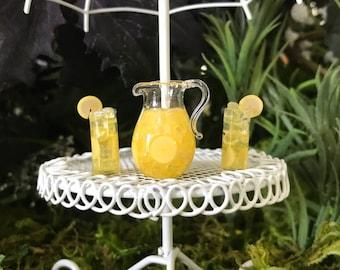 Miniature Lemonade Pitcher and 2 Glasses - 3 Piece Set