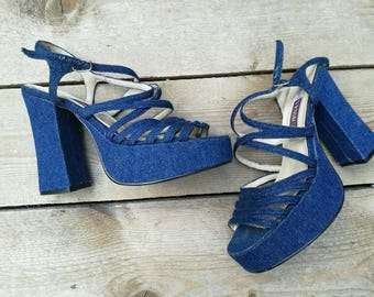 vintage 1970 Yessica C&A platform open toe shoe sandals 1970 jeans