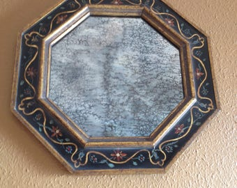Eight (8) sided gilded mirror