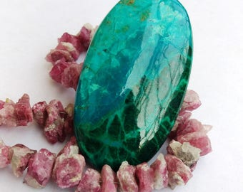 74.55 Cts. Natural Chrysocolla 47x26x5 mm Oval Shape Smooth Loose Gemstone Stone.