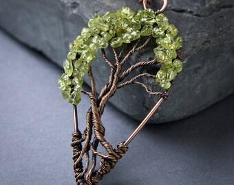 Tree of Life Pendant - Peridot - Peridot Pendant - Wire Wrapped Jewelry - Gemstone Pendant - Copper Jewelry - August Birthstone
