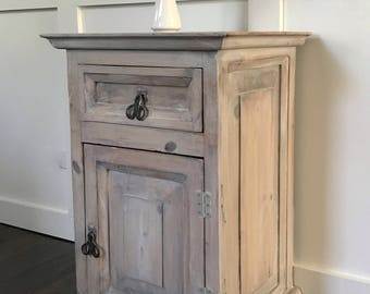SOLD****SOLD****Cabinet, Rustic Wood Cabinet, Primitive Wood Cabinet, White, Whitewashed, Birds, Blackbirds, Farmhouse