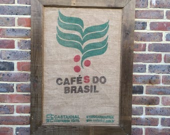 Hessian Coffee Sack Burlap Art Design with Recycled Wood Frame - Retro/ Vintage Style
