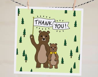 Thank You Banner Card | Bear Card | Thank You Very Much | Cute Card | Thanks | Funny Thank You | Grateful Card | Woodland Card