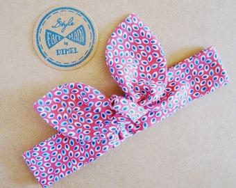 Headband tie headband pink printed leaves baby 0-6 months by order