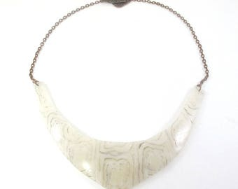 beige polymer clay plastron necklace