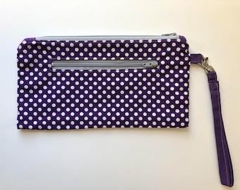 Double Zip Wristlet, pouch, wallet, swivel hook, purple, dots, zip pouch