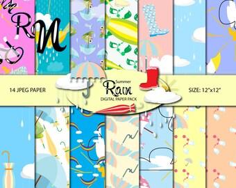 Summer rain Digital paper pack Summer paper Digital paper commercial use Seamless pattern Summer pattern Scrapbook paper Umbrella pattern