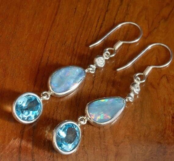 Beautiful  sterling silver Triplet blue Opal & Swiss Blue Topaz dangle earrings