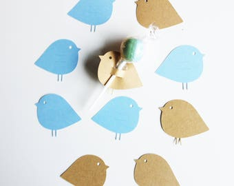10 birds cardstock for lollipops - party table decoration - christening