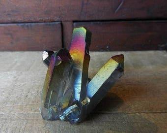 15% OFF July Titanium Rainbow Aura Quartz Cluster | Collection Crystal | Quartz Crystal Cluster | 5231