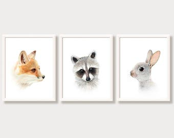 Woodland Nursery Wall Art Baby Animal Portraits Set 3 Prints Wall Gallery Decor Watercolor Painting Forest Animal Pictures Fox Bunny Raccoon