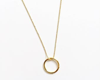 Dainty tiny ball chain necklace with circle