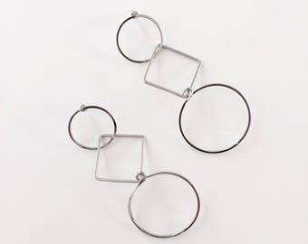 Long square circle Geometric earrings