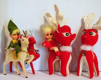 Fantastic Vintage Christmas Reindeer and Pixie LOT Made in Japan.