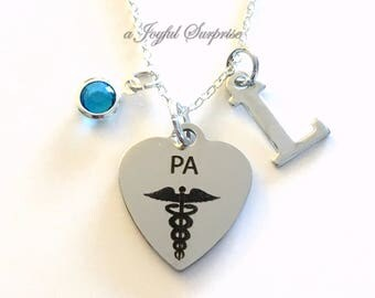 PA Necklace, Physician Assistant Gift for Medical Jewelry, Graduation Present, 925 Silver Stainless steel Student initial birthstone her him