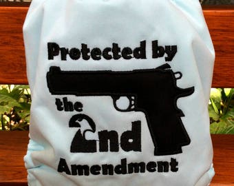 Aqua Protected by 2nd Amendment Limited Edition  custom embroidery All-In-One One Size Cloth Diaper Cloth Nappy