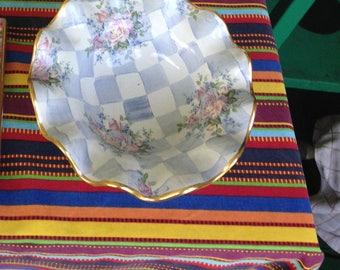 Mackenzie Childs Ruffle Bowl Honeymoon Blue Morning Glory #2