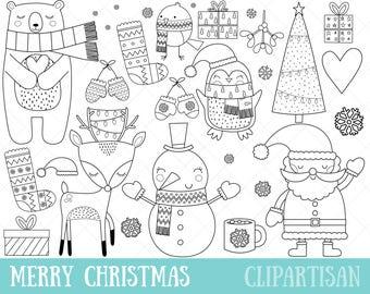 Christmas Clipart Digital Stamps | Christmas Coloring Page | EPS | PNG | Santa Clip Art | Snowman Clip Art | Christmas Line Art