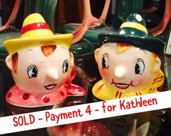 SOLD - Pmt 4 - for Kathleen- PY Anthropomorphic Wooden Puppet Boys in Scarves and Hats Salt and Pepper Shakers made in Japan circa 1950s