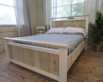 INTRODUCTORY OFFER Solid Reclaimed timber vertical panel bed with painted frame