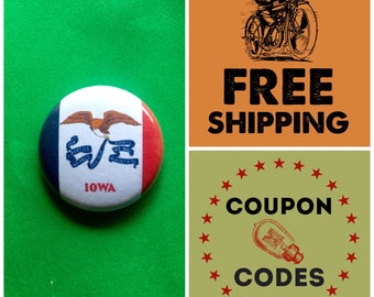 Iowa State Flag Button Pin or Magnet, FREE SHIPPING & Coupon Codes