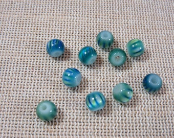 35pcs, Blue Zebra beads, glass beads 6mm, set of 35 beads, glass beads, beads, striped blue green jewelry, beads for jewelry creation