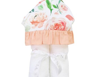 Secret Garden | Full Size Toddler Hooded Towel | Peach, Floral, and Ruffle | Baby Shower Gift | Girl Shower Gift