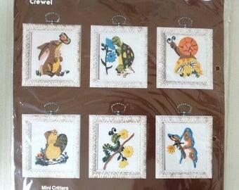 Vintage LEEWARDS Crewel 6 MINI CRITTERS Kit #35-69928 Squirrel Turtle Rabbit