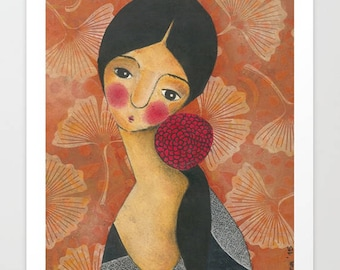 Self-Portrait With A Red Flower. Art Prints. Mixed Media.