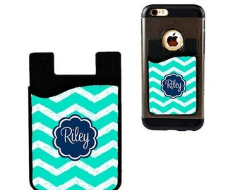 SALE Monogram Cell Phone Card Holder Caddy Phone Wallet - Custom Design Monogrammed Personalized Gifts - ID Credit Card iPhone