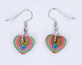 Earrings colorful hearts with blue rhinestones on silver-colored earrings wooden pendant earrings retro pattern colorful zipper