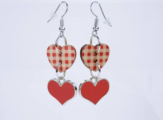 Earrings Heart in red hearts with plaid pattern on silver-colored earrings wooden pendant earrings Oktoberfest jewelry Love Valentine