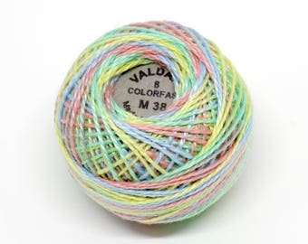 Valdani Pearl Cotton Thread Size 8 Variegated: #M38 Baby Soft Pastel