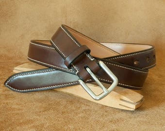Hand stitched leather belt (27 mm)